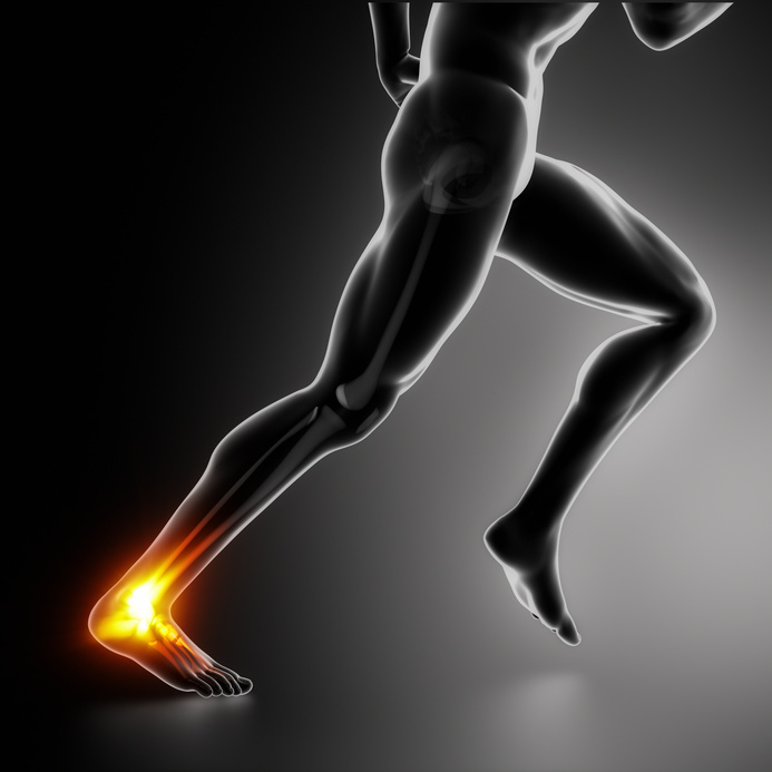 Sports ankle and achilles heel injury concept